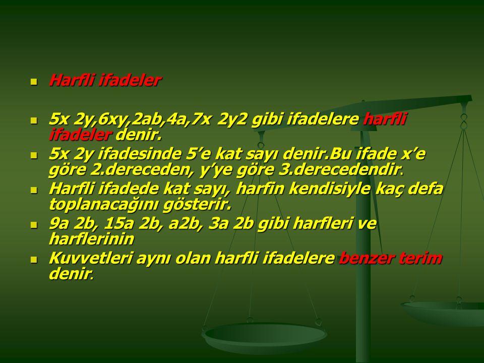 Harfli ifadeler 5x 2y,6xy,2ab,4a,7x 2y2 gibi ifadelere harfli ifadeler denir.