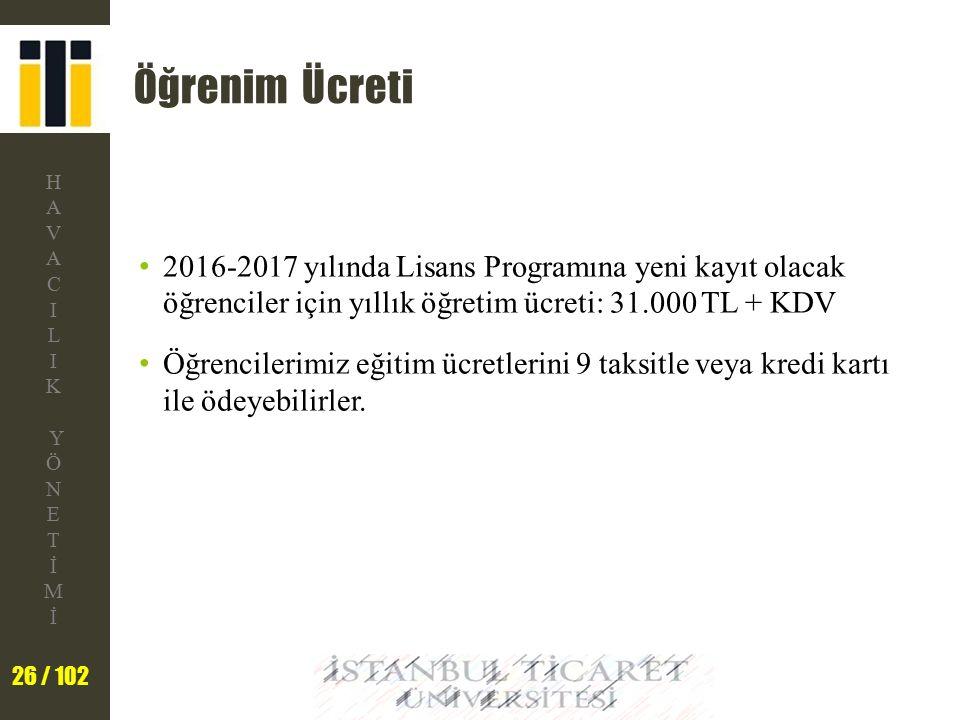 Öğrenim Ücreti 2016-2017 yılında Lisans Programına yeni kayıt olacak öğrenciler için yıllık öğretim ücreti: 31.000 TL + KDV.