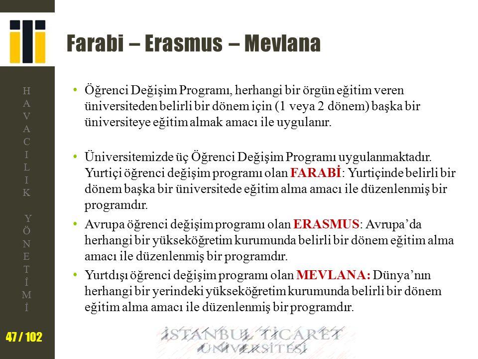 Farabi – Erasmus – Mevlana