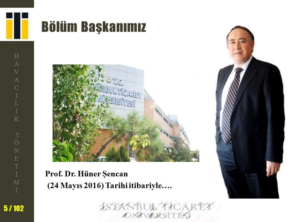 Bölüm Başkanımız Prof. Dr. Hüner Şencan (24 Mayıs 2016) Tarihi itibariyle….