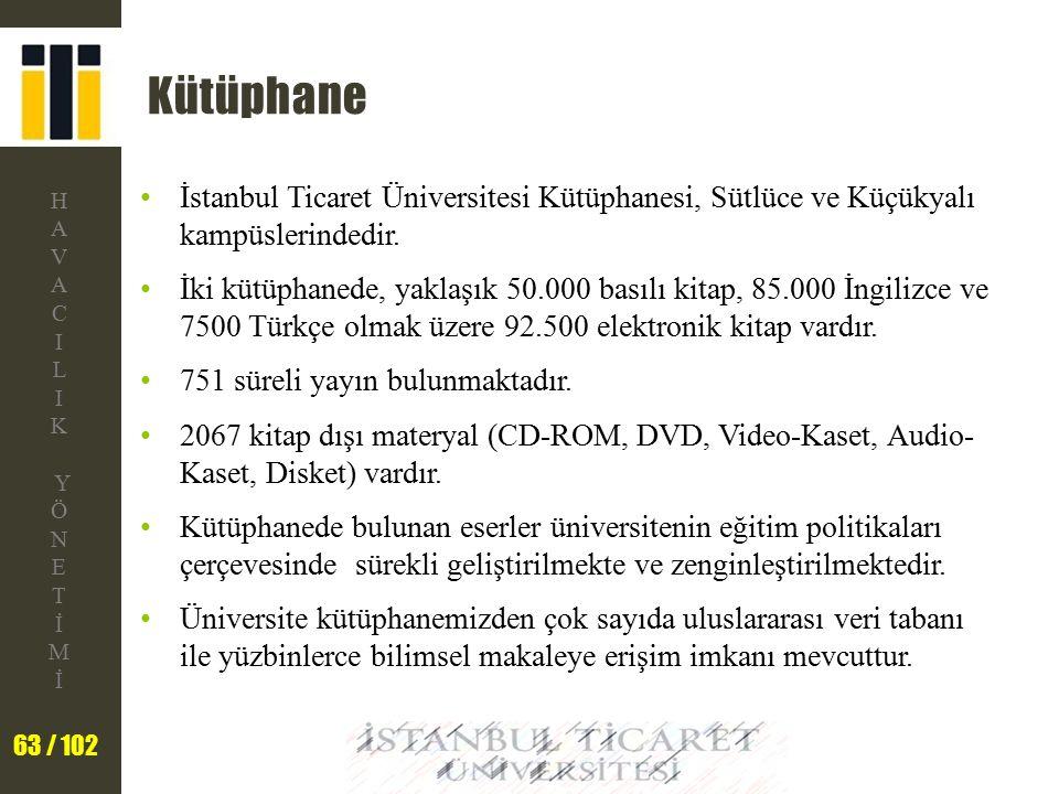 Kütüphane İstanbul Ticaret Üniversitesi Kütüphanesi, Sütlüce ve Küçükyalı kampüslerindedir.