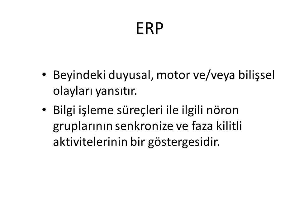 ERP Beyindeki duyusal, motor ve/veya bilişsel olayları yansıtır.