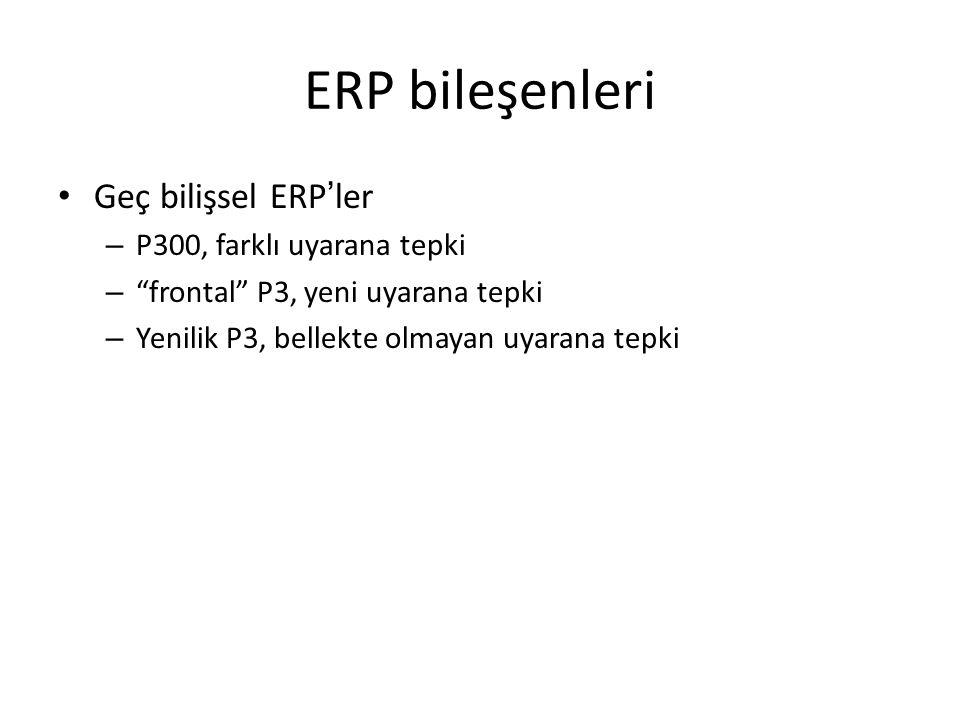 ERP bileşenleri Geç bilişsel ERP'ler P300, farklı uyarana tepki