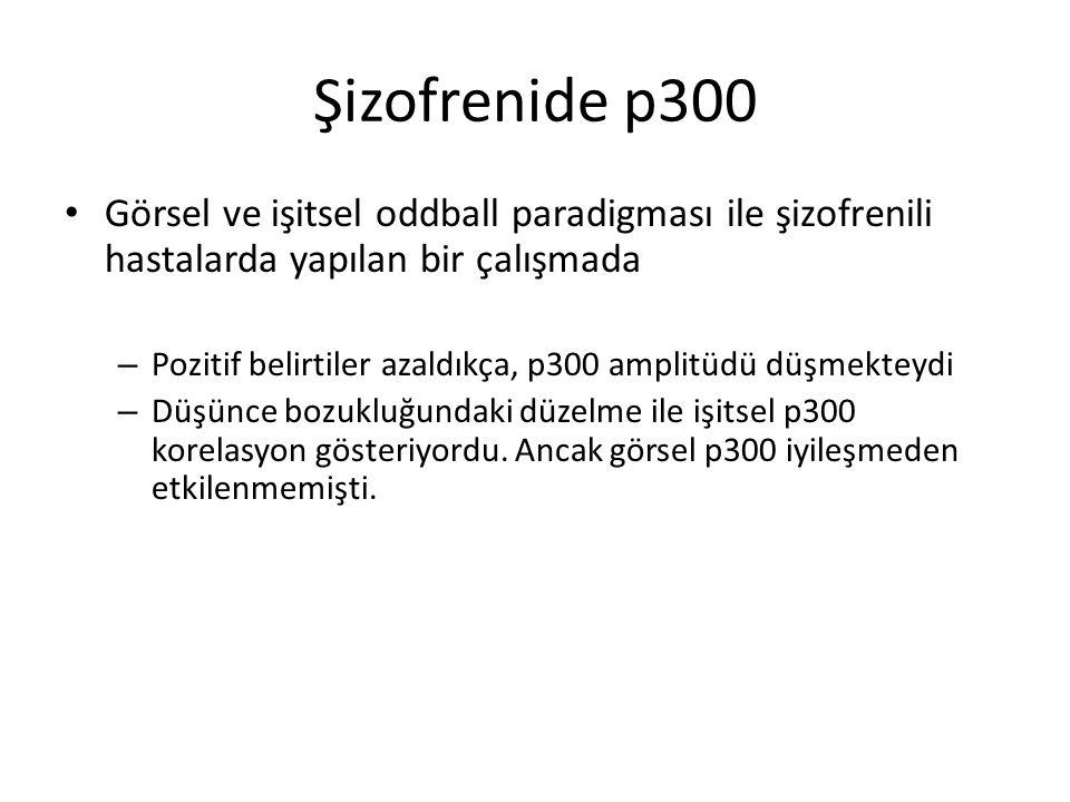 Şizofrenide p300 Görsel ve işitsel oddball paradigması ile şizofrenili hastalarda yapılan bir çalışmada.