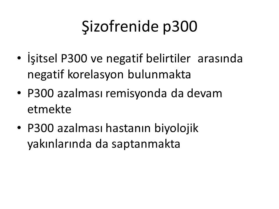 Şizofrenide p300 İşitsel P300 ve negatif belirtiler arasında negatif korelasyon bulunmakta. P300 azalması remisyonda da devam etmekte.