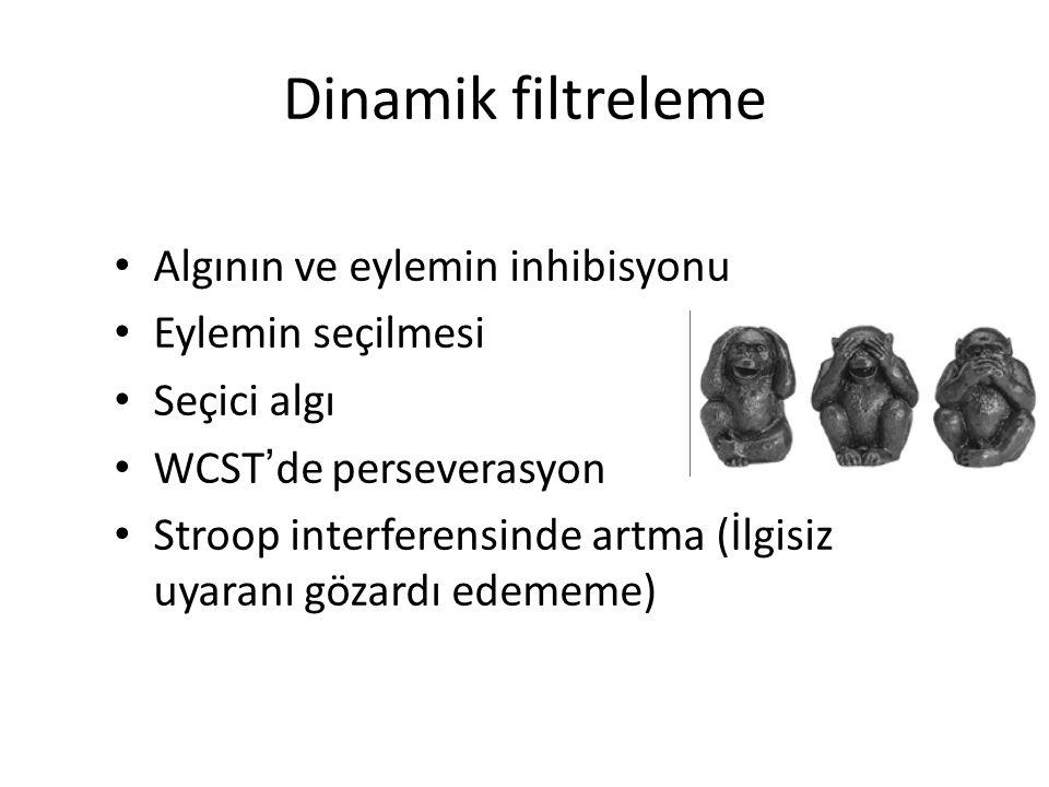 Dinamik filtreleme Algının ve eylemin inhibisyonu Eylemin seçilmesi