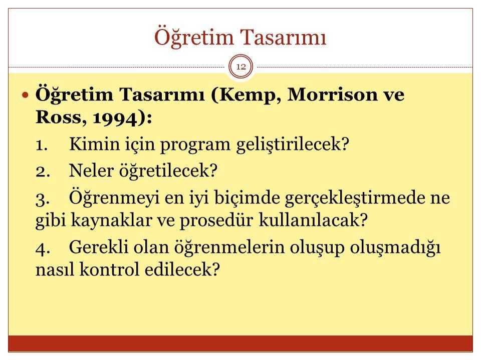 Öğretim Tasarımı Öğretim Tasarımı (Kemp, Morrison ve Ross, 1994):