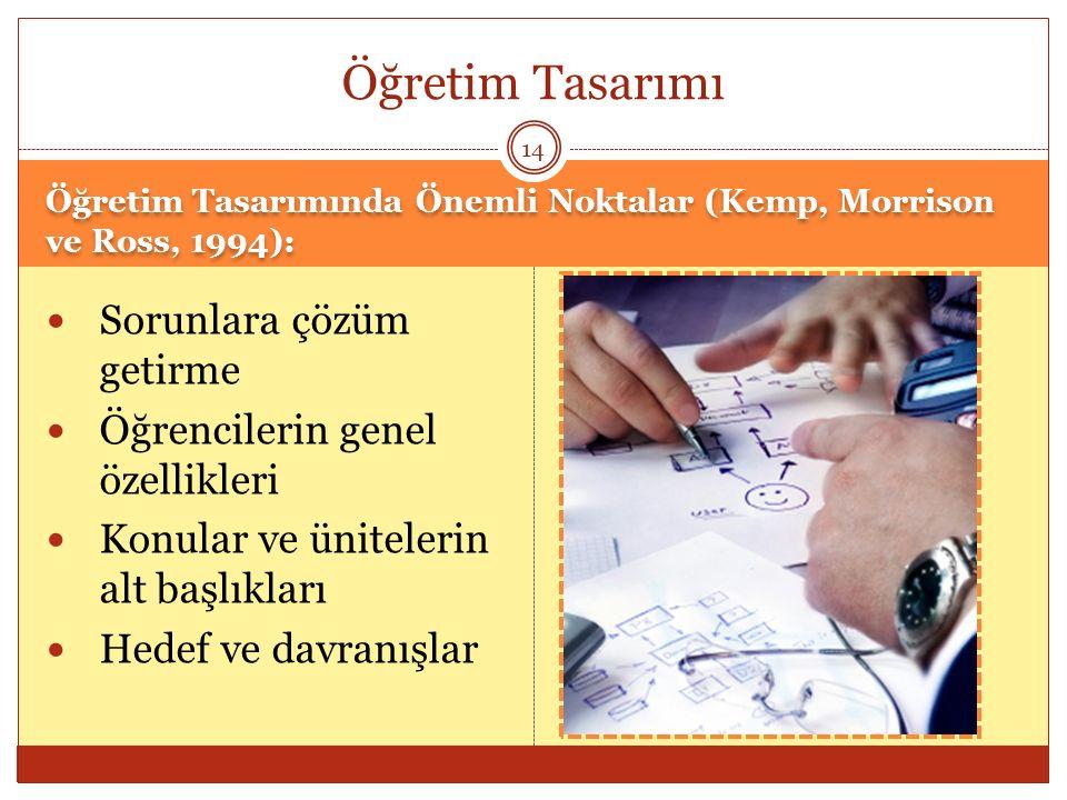 Öğretim Tasarımı Sorunlara çözüm getirme