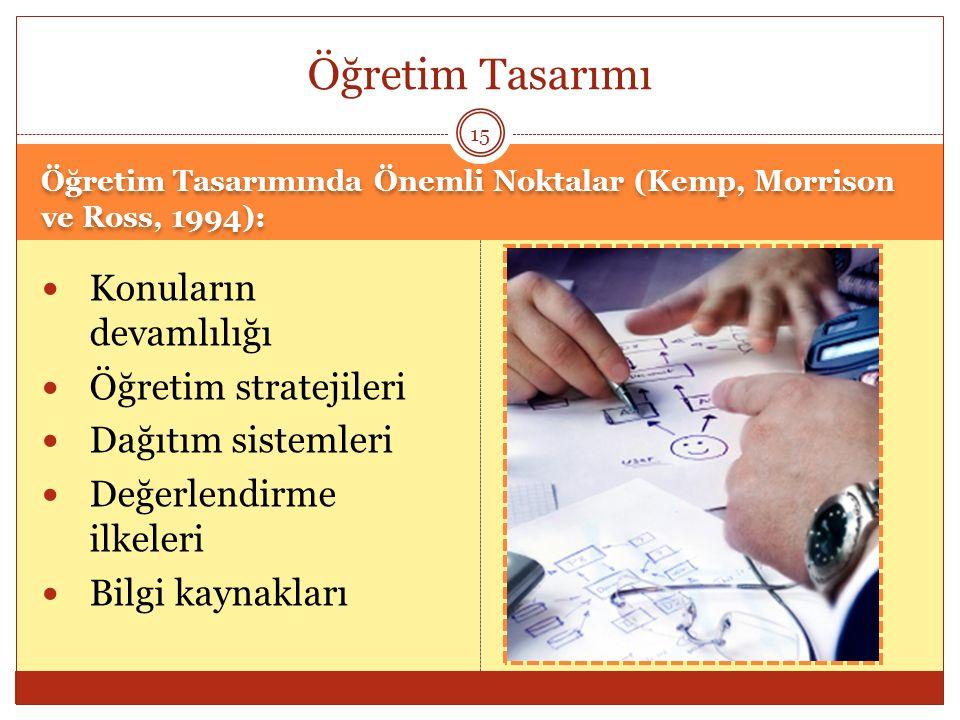Öğretim Tasarımı Konuların devamlılığı Öğretim stratejileri