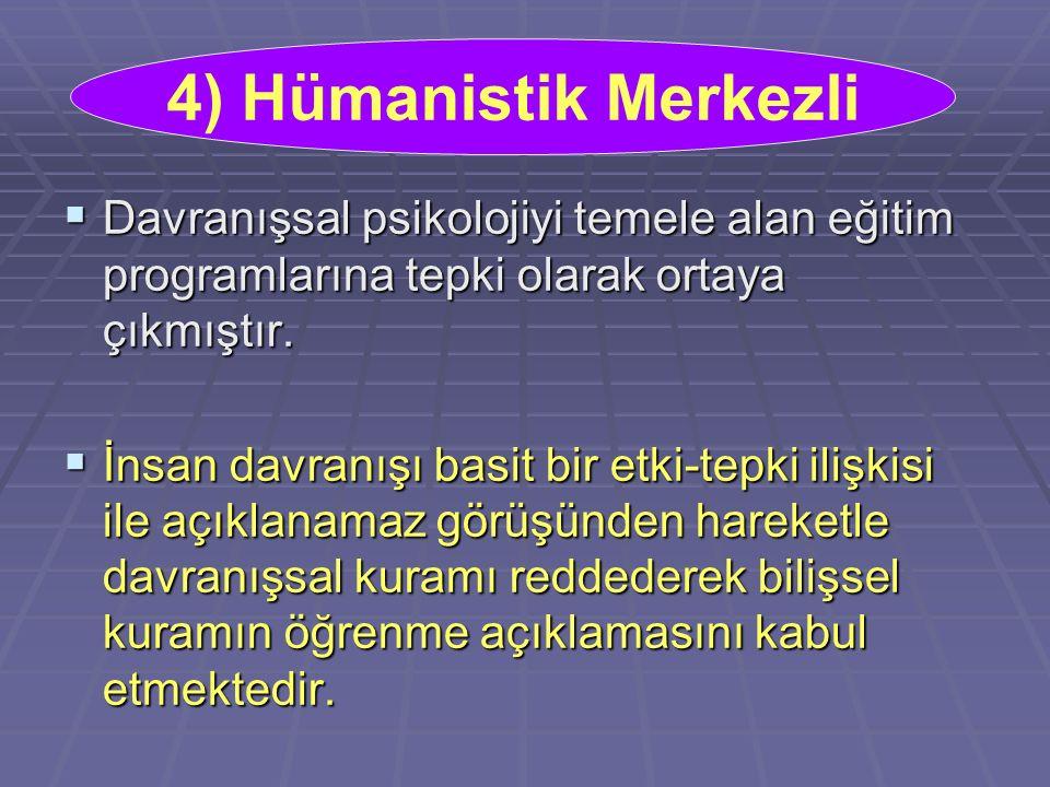 4) Hümanistik Merkezli Davranışsal psikolojiyi temele alan eğitim programlarına tepki olarak ortaya çıkmıştır.