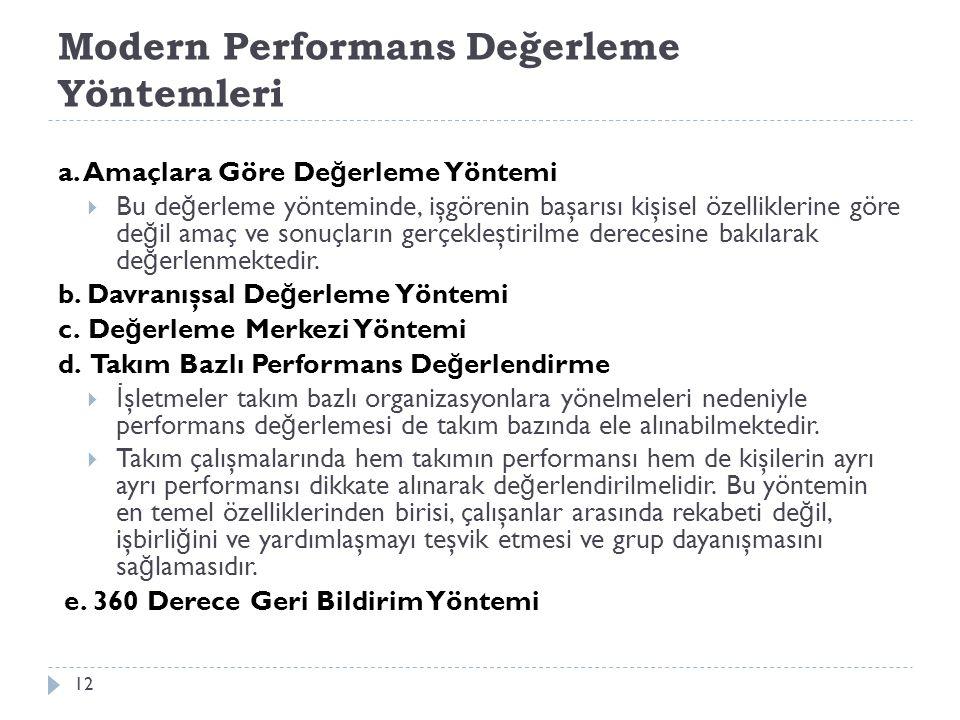 Modern Performans Değerleme Yöntemleri