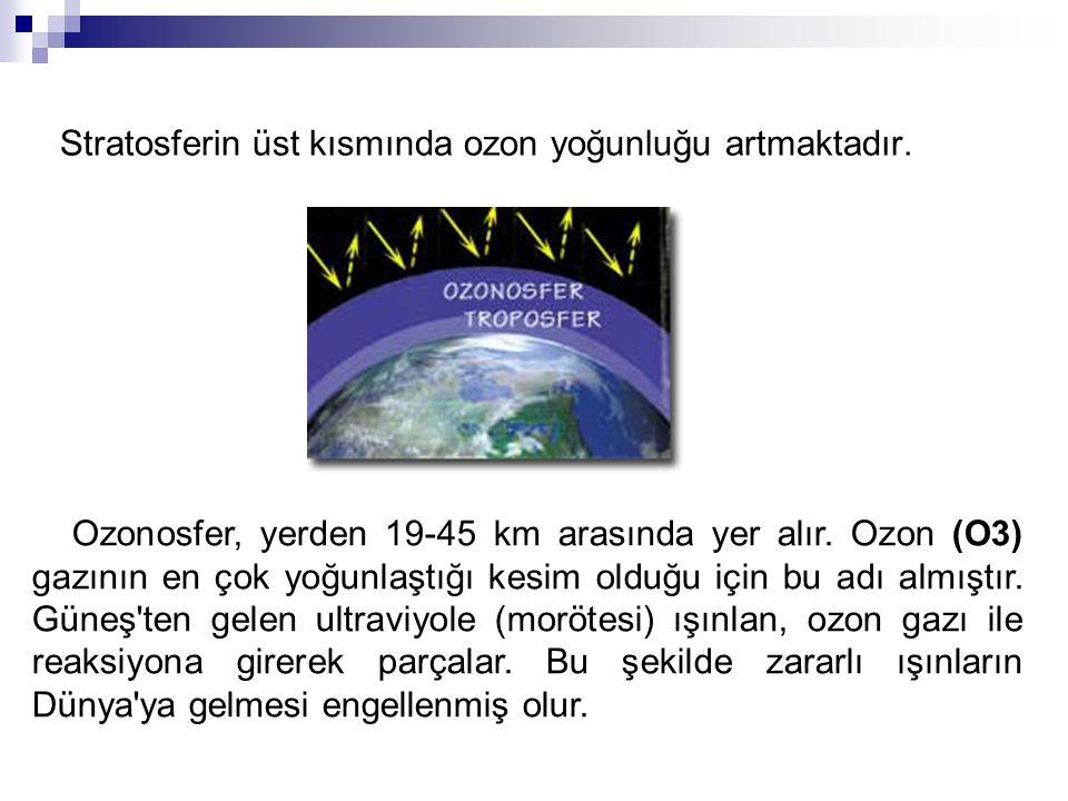 Stratosferin üst kısmında ozon yoğunluğu artmaktadır.