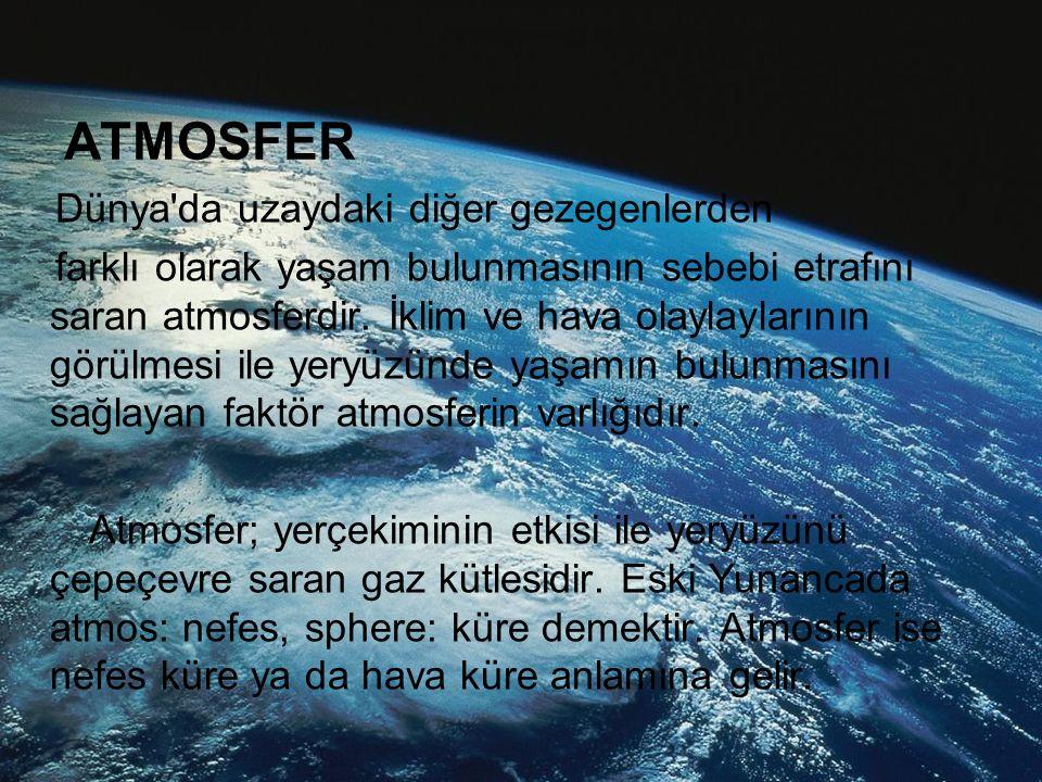 ATMOSFER Dünya da uzaydaki diğer gezegenlerden