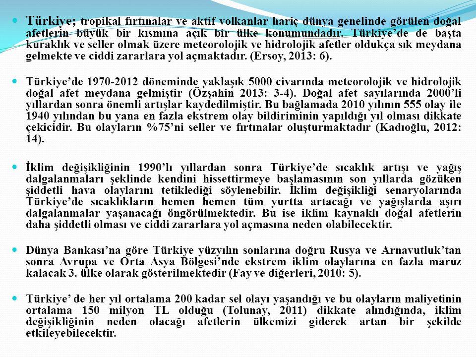 Türkiye; tropikal fırtınalar ve aktif volkanlar hariç dünya genelinde görülen doğal afetlerin büyük bir kısmına açık bir ülke konumundadır. Türkiye'de de başta kuraklık ve seller olmak üzere meteorolojik ve hidrolojik afetler oldukça sık meydana gelmekte ve ciddi zararlara yol açmaktadır. (Ersoy, 2013: 6).