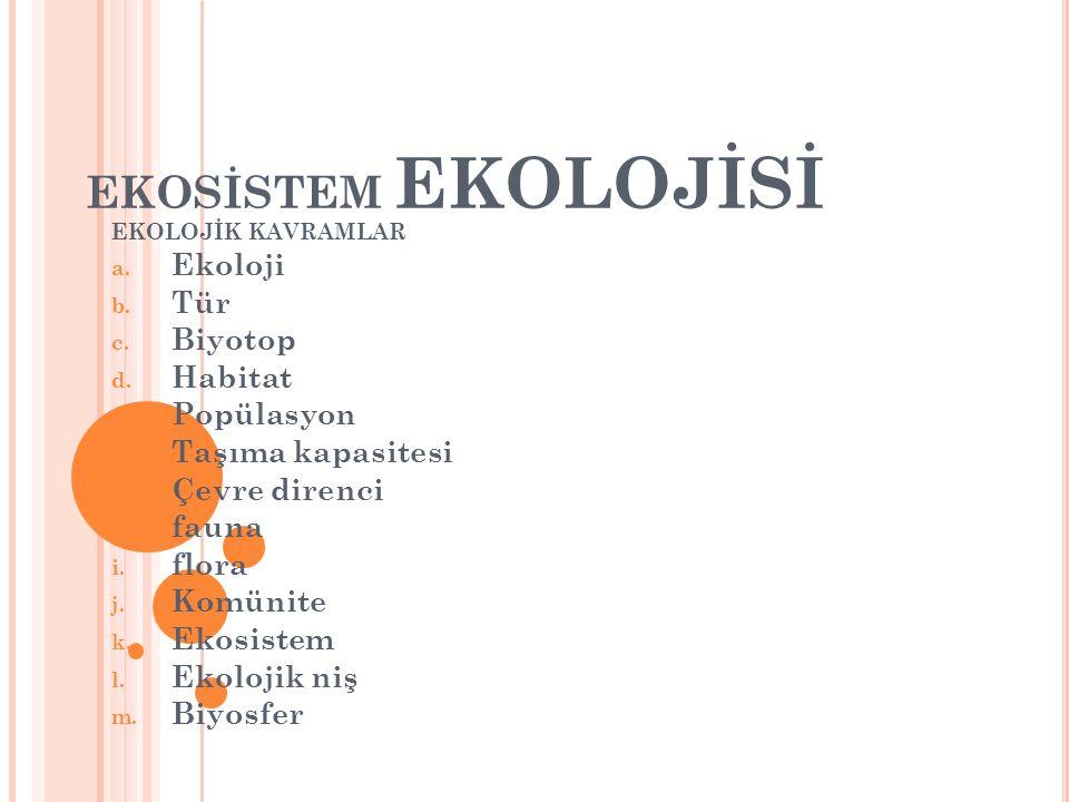 EKOSİSTEM EKOLOJİSİ Ekoloji Tür Biyotop Habitat Popülasyon