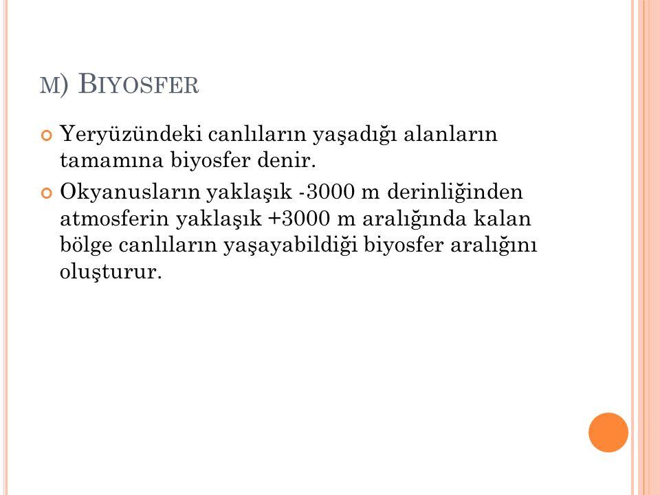 m) Biyosfer Yeryüzündeki canlıların yaşadığı alanların tamamına biyosfer denir.