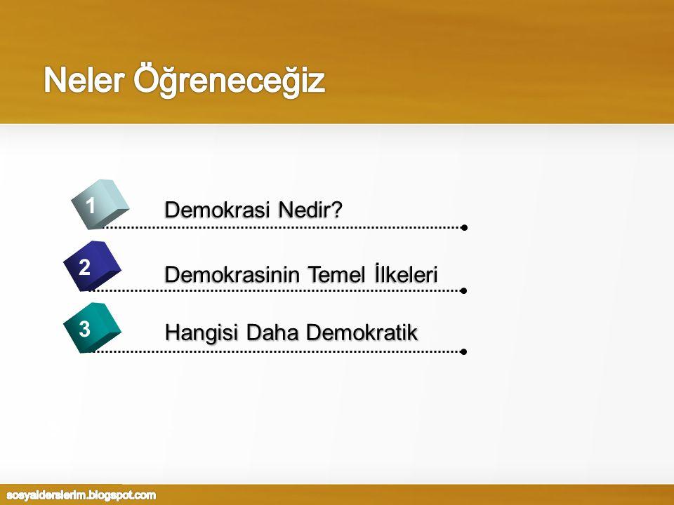 Neler Öğreneceğiz 1 Demokrasi Nedir 2 Demokrasinin Temel İlkeleri 3