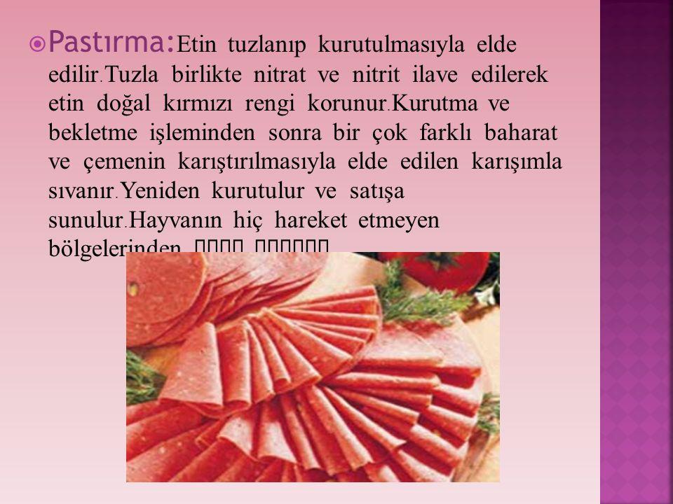 Pastırma:Etin tuzlanıp kurutulmasıyla elde edilir