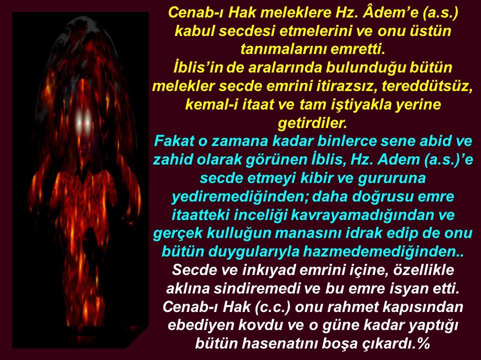 Cenab-ı Hak meleklere Hz. Âdem'e (a. s