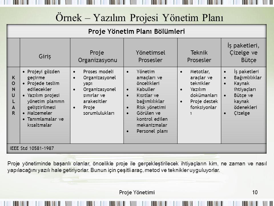 Örnek – Yazılım Projesi Yönetim Planı