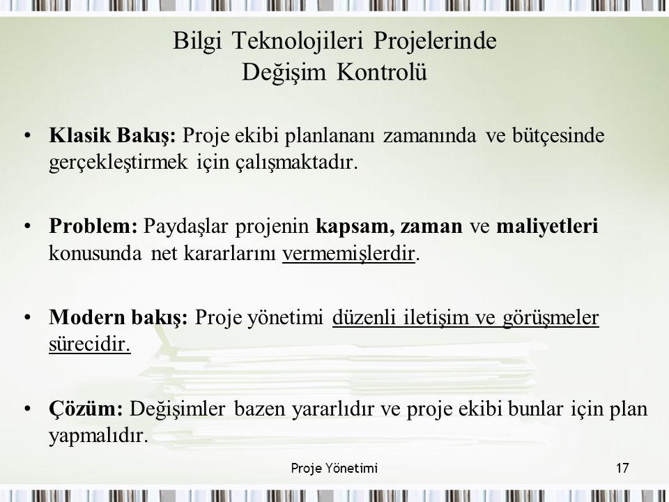 Bilgi Teknolojileri Projelerinde Değişim Kontrolü