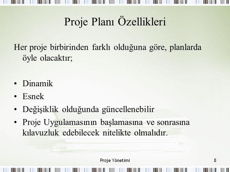 Proje Planı Özellikleri