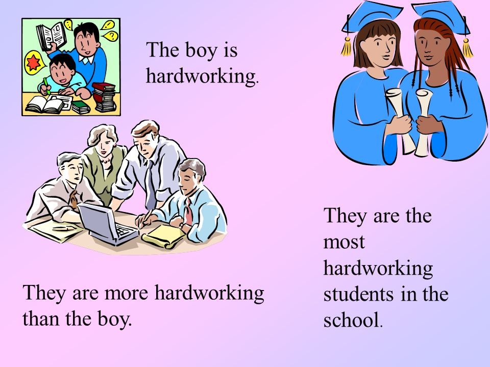 The boy is hardworking. They are the most hardworking students in the school.