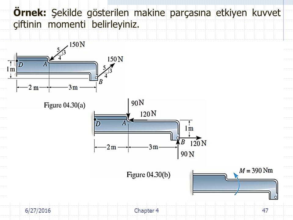 Örnek: Şekilde gösterilen makine parçasına etkiyen kuvvet çiftinin momenti belirleyiniz.