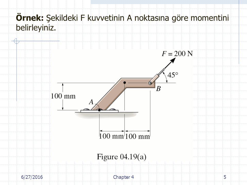 Örnek: Şekildeki F kuvvetinin A noktasına göre momentini belirleyiniz.