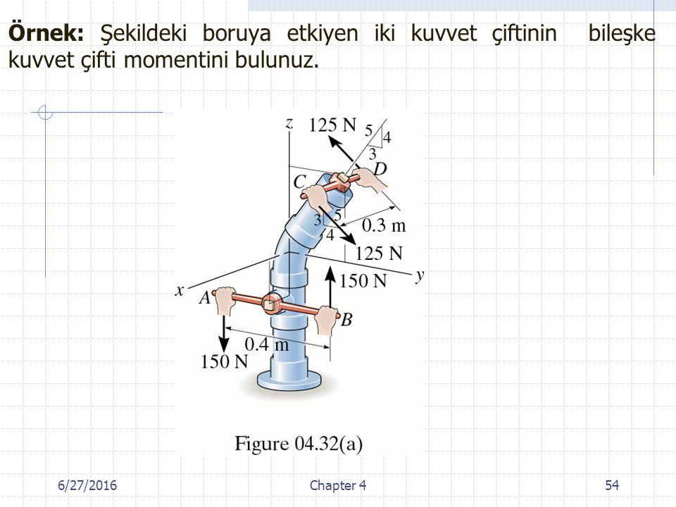 Örnek: Şekildeki boruya etkiyen iki kuvvet çiftinin bileşke kuvvet çifti momentini bulunuz.