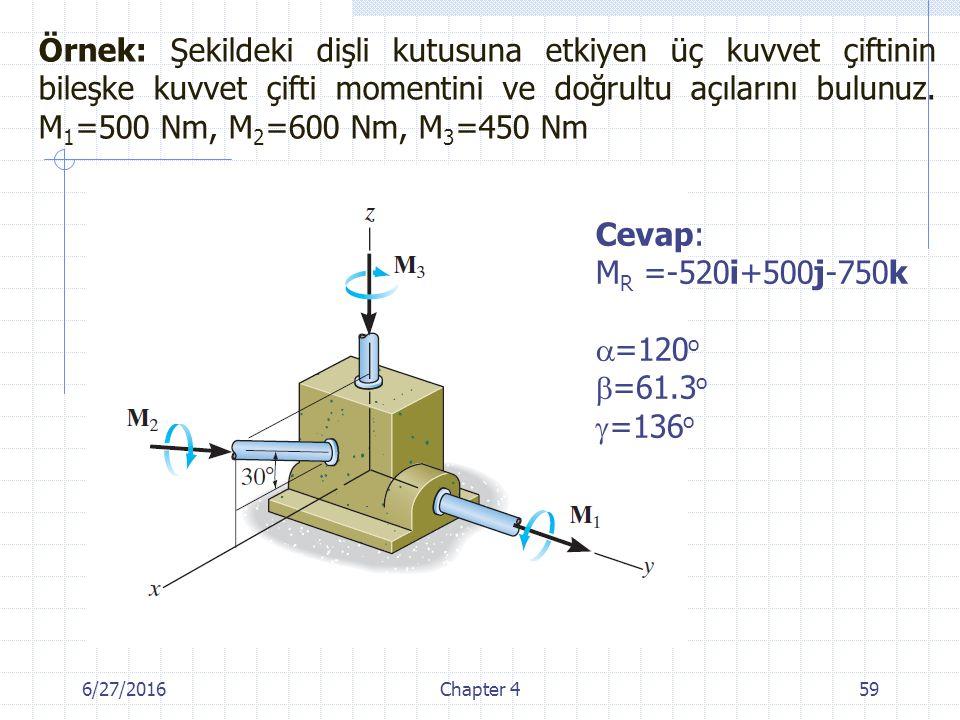 Örnek: Şekildeki dişli kutusuna etkiyen üç kuvvet çiftinin bileşke kuvvet çifti momentini ve doğrultu açılarını bulunuz. M1=500 Nm, M2=600 Nm, M3=450 Nm