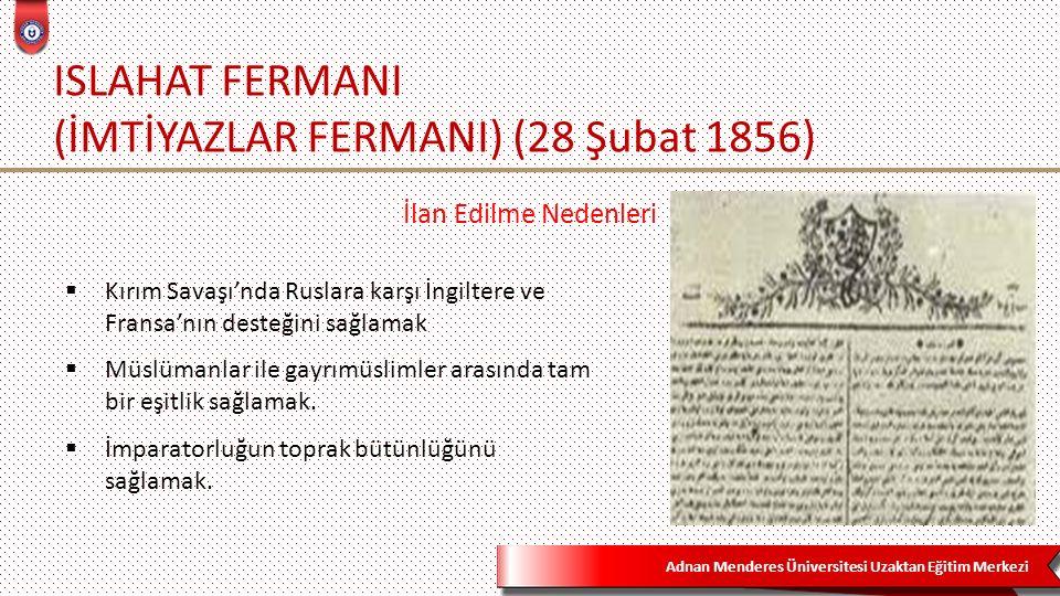 ISLAHAT FERMANI (İMTİYAZLAR FERMANI) (28 Şubat 1856)