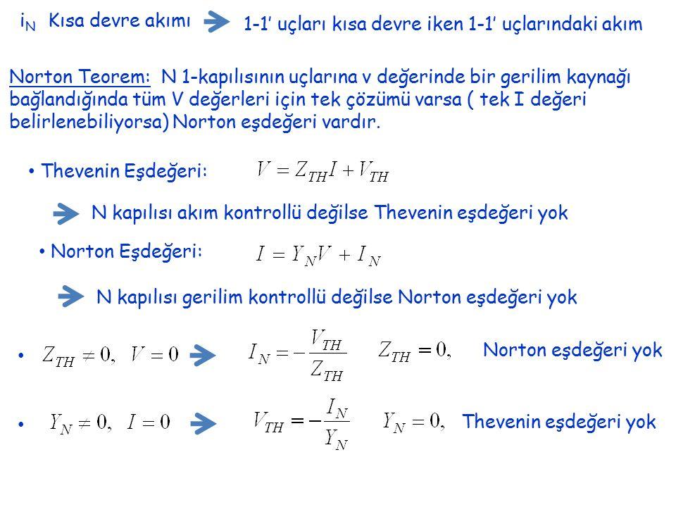 iN Kısa devre akımı 1-1' uçları kısa devre iken 1-1' uçlarındaki akım.