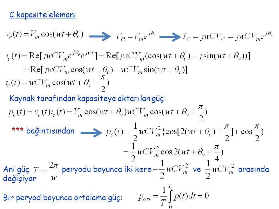 C kapasite elemanı Kaynak tarafından kapasiteye aktarılan güç: *** bağıntısından.