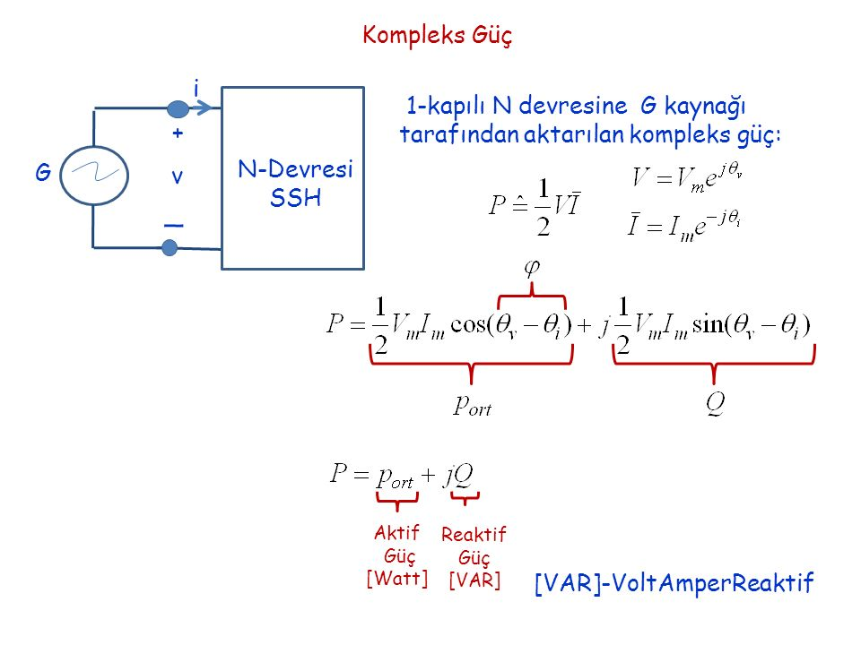 Kompleks Güç i. + _. v. N-Devresi. SSH. G. 1-kapılı N devresine G kaynağı tarafından aktarılan kompleks güç: