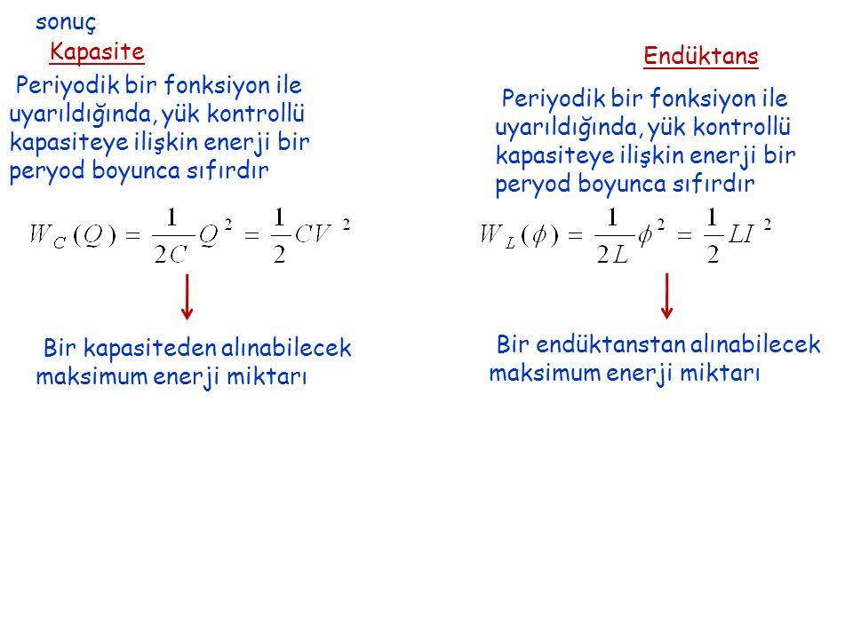 sonuç Kapasite. Endüktans. Periyodik bir fonksiyon ile. uyarıldığında, yük kontrollü. kapasiteye ilişkin enerji bir.