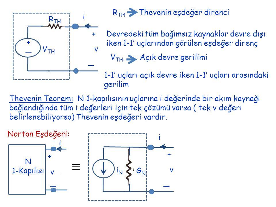 _ _ _ RTH Thevenin eşdeğer direnci + v i RTH VTH