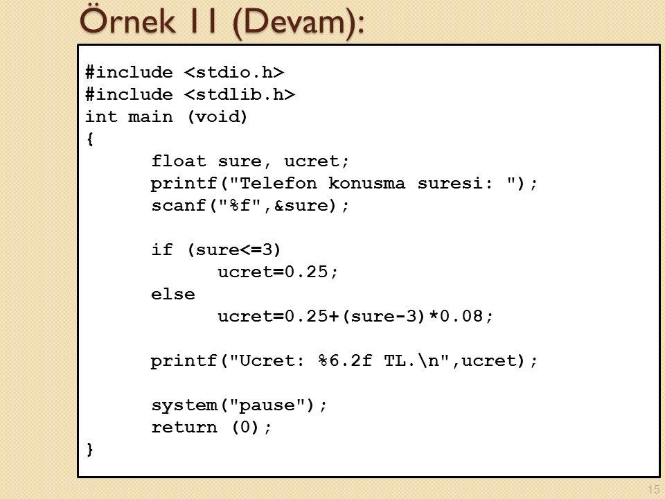 Örnek 11 (Devam): #include <stdio.h> #include <stdlib.h>