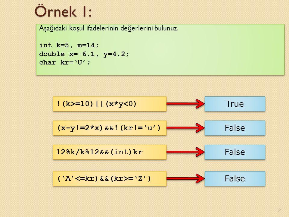 Örnek 1: !(k>=10)||(x*y<0) True (x-y!=2*x)&&!(kr!='u') False
