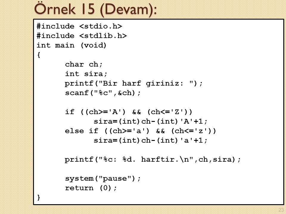 Örnek 15 (Devam): #include <stdio.h> #include <stdlib.h>