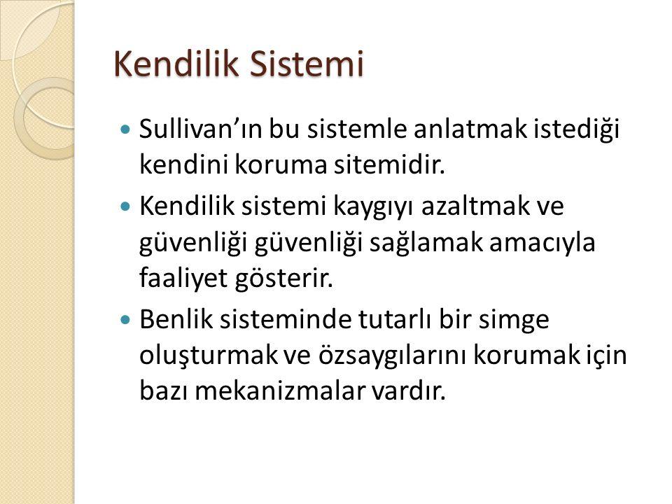 Kendilik Sistemi Sullivan'ın bu sistemle anlatmak istediği kendini koruma sitemidir.