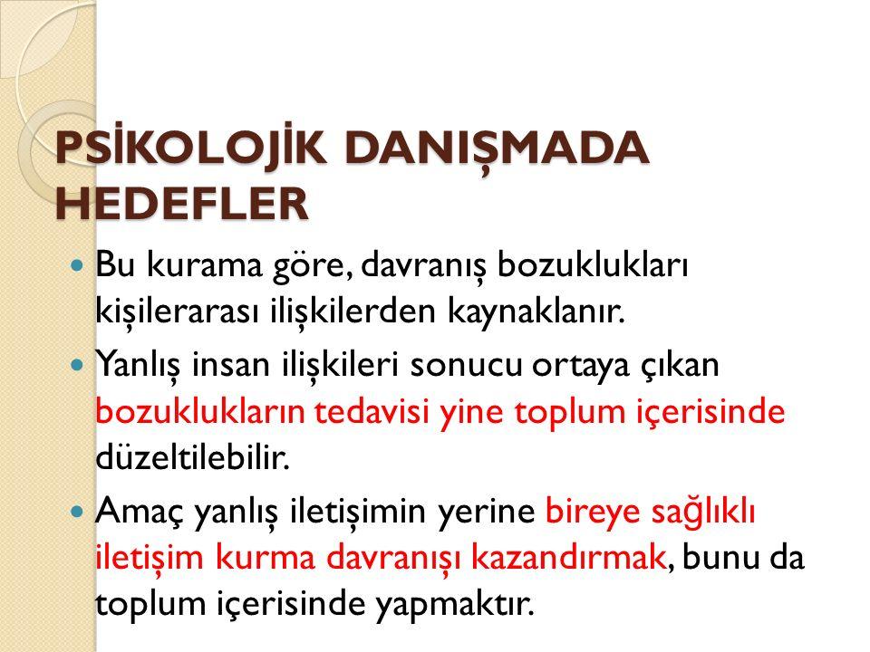 PSİKOLOJİK DANIŞMADA HEDEFLER