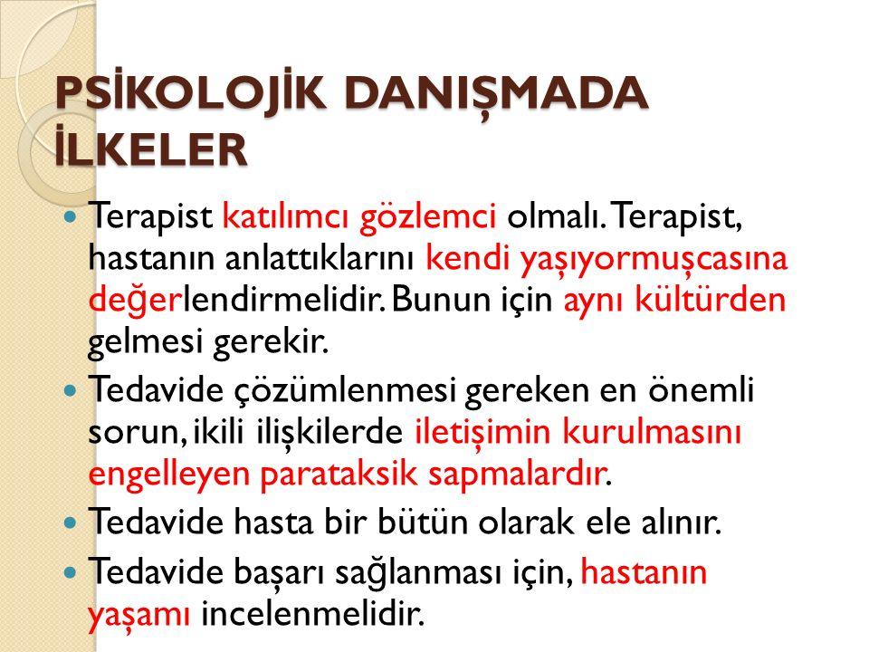 PSİKOLOJİK DANIŞMADA İLKELER