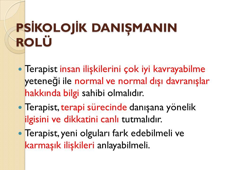 PSİKOLOJİK DANIŞMANIN ROLÜ