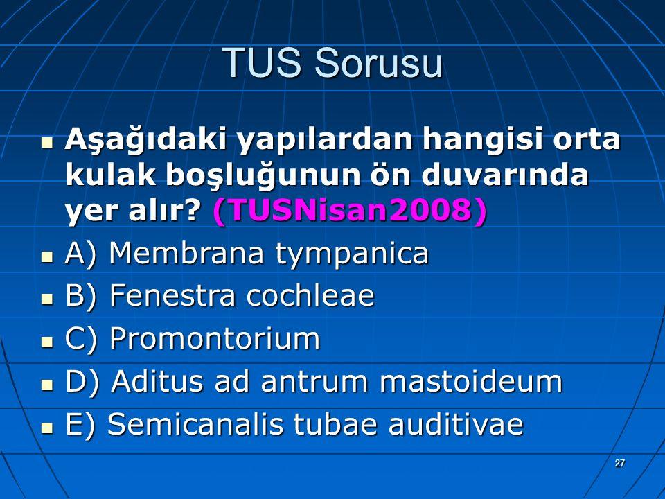 TUS Sorusu Aşağıdaki yapılardan hangisi orta kulak boşluğunun ön duvarında yer alır (TUSNisan2008)