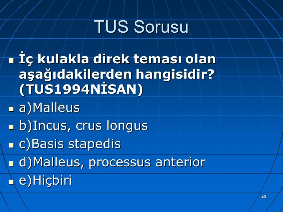TUS Sorusu İç kulakla direk teması olan aşağıdakilerden hangisidir (TUS1994NİSAN) a)Malleus. b)Incus, crus longus.