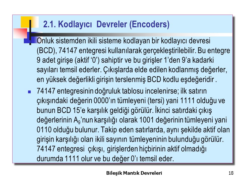 2.1. Kodlayıcı Devreler (Encoders)