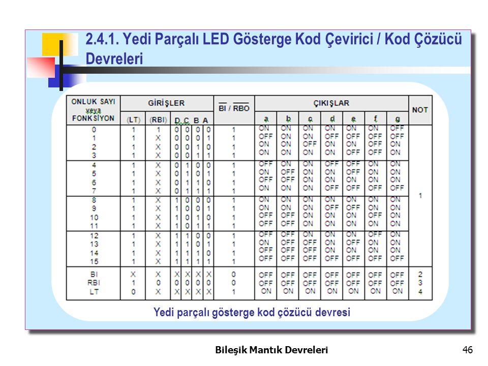 2.4.1. Yedi Parçalı LED Gösterge Kod Çevirici / Kod Çözücü Devreleri