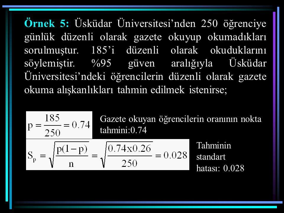 Örnek 5: Üsküdar Üniversitesi'nden 250 öğrenciye günlük düzenli olarak gazete okuyup okumadıkları sorulmuştur. 185'i düzenli olarak okuduklarını söylemiştir. %95 güven aralığıyla Üsküdar Üniversitesi'ndeki öğrencilerin düzenli olarak gazete okuma alışkanlıkları tahmin edilmek istenirse;