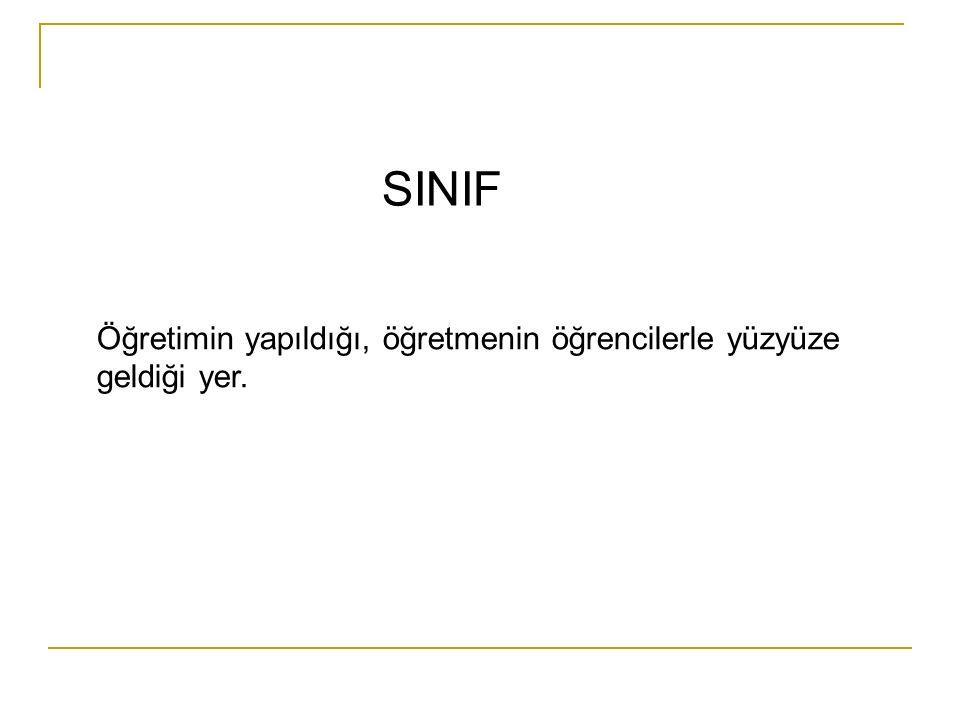 SINIF Öğretimin yapıldığı, öğretmenin öğrencilerle yüzyüze geldiği yer.
